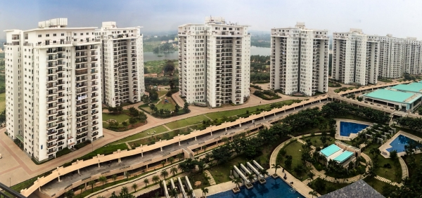 Panorama of Shantiniketan complex from top floor, Whitefield, Bangalore